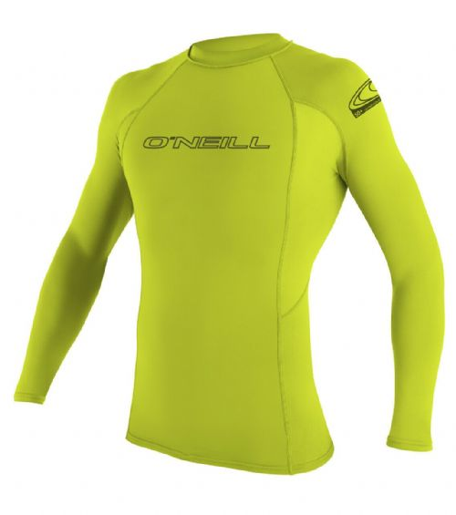O'NEILL MENS RASH VEST.SKINS UPF50+ LONG SLEEVE CREW LIME GUARD T SHIRT TOP S20
